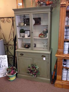 Cupboard, painted with Annie Sloan Chalk Paint (Chateau Grey with Old Ochre interior). Lightly distressed and waxed with clear & dark wax. Sold.