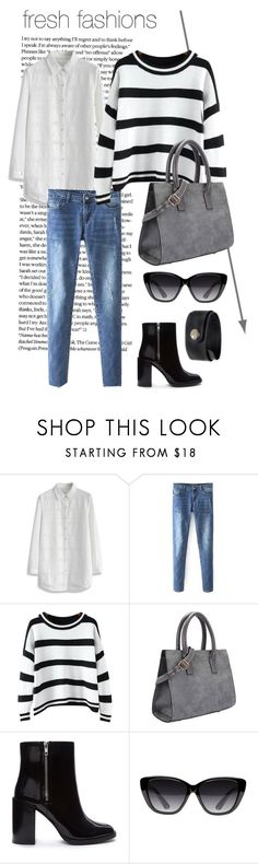 """""""cute & afordable"""" by cloudemojis ❤ liked on Polyvore featuring Chicwish, Chicnova Fashion, Forever 21, Elizabeth and James, NOVICA, white, black, stripes, bluejeans and dressshirt"""