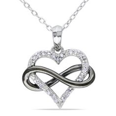 @Overstock.com - Miadora Sterling Silver 1/10ct TDW Diamond Heart Necklace (H-I, I2-I3) - Let your loved one know how you feel by offering this extraordinary diamond heart-pendant necklace as a gift. Crafted with round, white diamonds and set in sterling silver, this stunning infinity-designed pendant will make any woman fall in love. http://www.overstock.com/Jewelry-Watches/Miadora-Sterling-Silver-1-10ct-TDW-Diamond-Heart-Necklace-H-I-I2-I3/7978643/product.html?CID=214117 $80.99