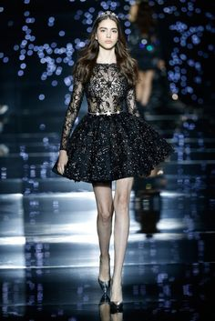 Zuhair Murad 2016 Haute Couture Collection - Black lace embellished dress with stars Runway Fashion, High Fashion, Fashion Show, Fashion Outfits, Elegant Prom Dresses, Nice Dresses, Short Dresses, Beautiful Gowns, Beautiful Outfits