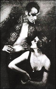 Anita Berber (1899-1928) & Sebastian Droste (1892-1927) performing the dark fantasy Morphine, photo by Atelier Eberth, c.1922.