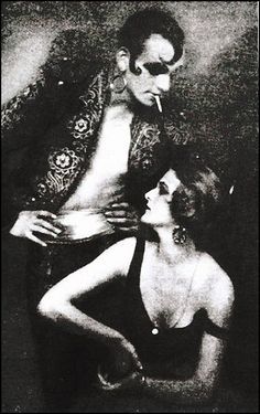 "Anita Berber (1899-1928) & Sebastian Droste (1892-1927) performing the dark fantasy ""Morphine"" photo by Atelier Eberth, ca. 1922"