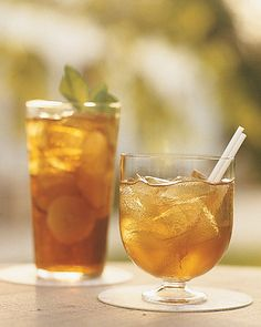 Pimm's Cup, a British favorite, and Tennessee Tea, using Jack Daniels, Triple Sec, Coke, sweet-and-sour mix, and lemonade.