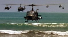 "Huey Helicopters, Vietnam.  ""Ride of the Valkyries"" from ""Apocalypse Now"" was a very stirring scene, depicted to scare the hell out of the Vietnamese with Robert Duvall in command."