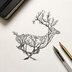 Pen & Ink Depictions of Trees Sprouting into Animals