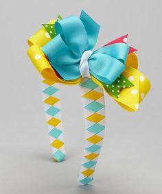 Take a look at this Yellow & Blue Polka Dot Sailboat Bow Headband by Waistin' Away on #zulily today!