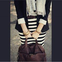 Stripe Skirt with Black Blazer