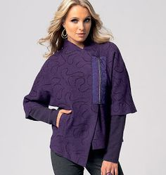 A textured purple wool with silk-screened grosgrain zipper trim  and purple double knit sleeves.