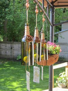 Wine Bottle Wind Chime Beautifully Hand by UrbanStreetEclectic