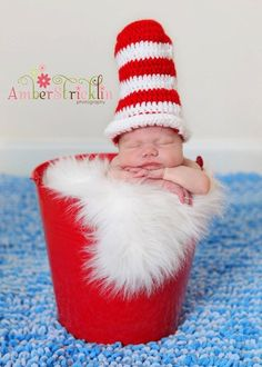 crochet dr. seuss cat in the hat patterns | Cat in the Hat - I love this knit hat #Seuss #baby #Photography
