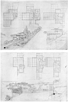 Frank Lloyd Wright, project, All-Steel Houses for Los Angeles, 1938  |   Proposed for an area bounded by La Brea Ave., Slauson Ave. and Overhill Drive. It has been suggested that the elegant, but rarely if ever published scheme was less than worked out lacking needed structure.