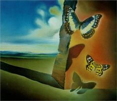 Landscape with Butterflies by Salvador Dali, the artwork my toddler class will be studying tomorrow.