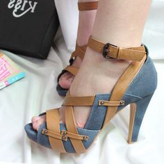 $21.97 2013 new bump color shoes children sandals Roman fish head high-heeled fine with casual shoes Blue Denim