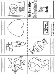 printable Itsy Bitsy Book - Valentine's Day  http://www.kidzone.ws/kindergarten/learning-letters/ib-book-valentinesday.htm