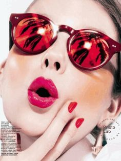 Random things that appeal to me on a variety of levels. Cat Eye Sunglasses, Mirrored Sunglasses, Purse Your Lips, Asos, Red Face, Shady Lady, Models, Glam Makeup, Makeup Trends