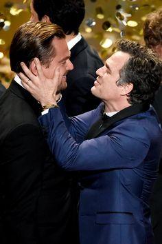 Mark Ruffalo and Leonardo at the 2016 Oscars