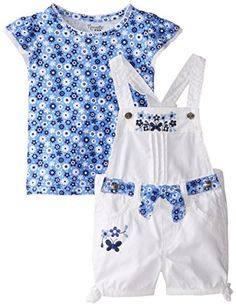 Nannette Little Girls 2 Piece Shortall Set with Sash -- Click image to review more details. We are a participant in the Amazon Services LLC Associates Program, an affiliate advertising program designed to provide a means for us to earn fees by linking to Amazon.com and affiliated sites.