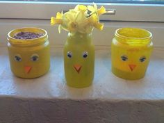 Påskevaser eller urtepotteskjulere lavet af gamle glas Duck Crafts, Easter Crafts, Diy And Crafts, Arts And Crafts, Projects For Kids, Diy For Kids, Crafts For Kids, Easter 2018, Daycare Crafts
