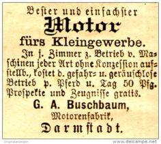 Original-Werbung/ Anzeige 1888 - MOTOR FÜRS KLEINGEWERBE / MOTORENFABRIK…