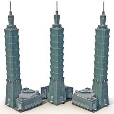 model: This Taipei 101 2 is a high quality, photo real model that will enhance detail and realism to any of your rendering projects. The model has a fully textured, detailed design that allows for . Graphic Design Portfolio Examples, Taipei 101, 3ds Max Models, Real Model, High Rise Building, Amazing Buildings, Futuristic Architecture, Paper Models, Building Design