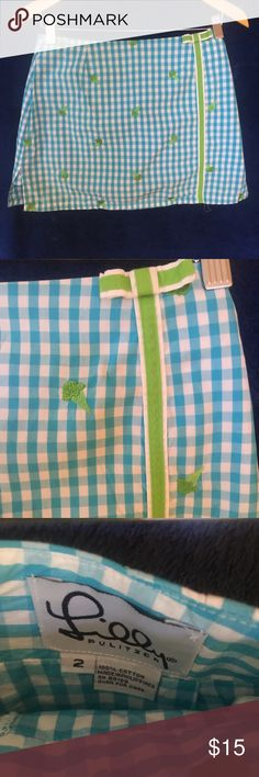 Lilly Pulitzer Skort size 2 Blue checked with green bow and accents Lilly Pulitzer Skirts Mini