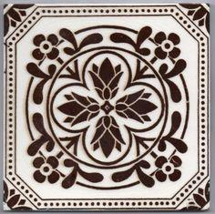 Victorian Majolica  -  PINE CONES & FLOWERS - Ceramic Tile
