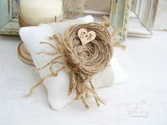 Custom Wedding Ring Pillow Ivory Burlap with by cottonbirddesigns