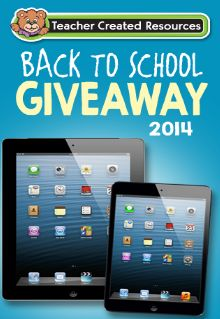 Teacher Created Resources Back to School Giveaway Sweepstakes - Win an iPad! - ends Sept. 30, 2014