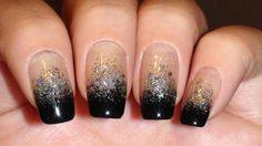 black and silver nails | Black Silver Glitter Gradient Nail Art 432x242