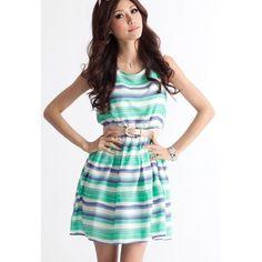 Sweet Beam Waist Colorful Stripe Cotton Blend Women's DressSummer Dresses   RoseGal.com