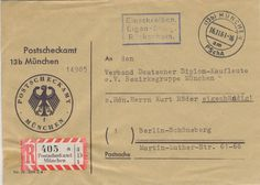 Postscheckamt Munchen 16-11-1961