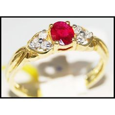 http://rubies.work/0330-sapphire-ring/ 18K Yellow Gold Solitaire Genuine Ruby Diamond Ring by BKGjewels