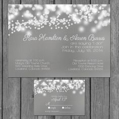 simple wedding invitation, modern, lights, engagement party invite, reception only invite, vow renewal, gray