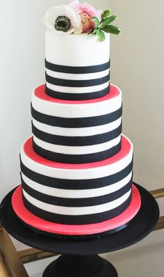 Hot Pink, Black and White Wedding Tablescape Kate Spade Cake, Kate Spade Party, 21st Birthday Cakes, Birthday Stuff, Pink Black, Hot Pink, Black And White, Sweet 16 Cakes, Wedding Inspiration