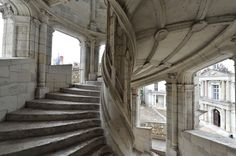 Amazing double-helix staircase in the Chateau de Chambord, Loire Valley, France. The two helixes ascend three floors and never meet. In the center is an open air shaft that lets in light. Some believe Leonardo da Vinci designed the staircase, but this is as of yet, unconfirmed.