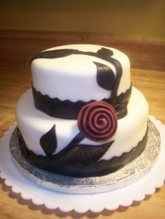 Black & White cake with Red accent rose By MonicaVinson on CakeCentral.com