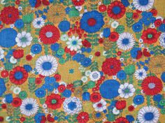 1960s 1970s Vintage Fabric  Yellow Red Blue Floral by ErikawithaK
