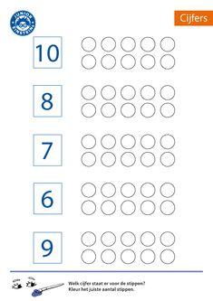 Kleur het aantal stippen [3] Numbers Preschool, Preschool Printables, Preschool Math, Teaching Math, Grade R Worksheets, Kindergarten Math Worksheets, Math Activities, Maternelle Grande Section, Life Skills Classroom