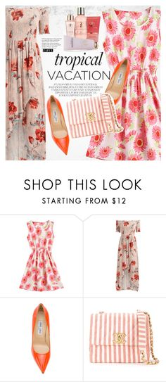 """""""Welcome to Paradise: Tropical Vacation"""" by vanjazivadinovic ❤ liked on Polyvore featuring Tiffany & Co., Jimmy Choo, Chanel, Adrienne Vittadini, happyhour, polyvoreeditorial and zaful"""