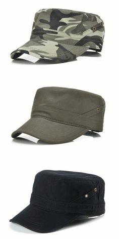 Mens Cotton Breathable Flat Baseball Hat Outdoor Sport Visor Military Training Cap Adjustable
