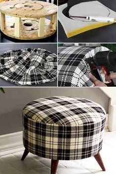 Handmade Ottoman Using A Wire Spool Cable