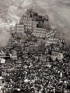 Du Zhenjun: the Tower of Babel - Destruction - 2010 Turm Von Babylon, Halle Saint Pierre, Utopia Dystopia, Art Actuel, Chinese Contemporary Art, Image Digital, Digital Art, Tower Of Babel, Art Brut