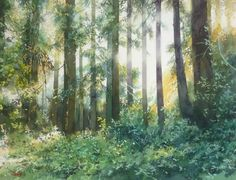 "Yokohama Exhibition 2015 - Abe Toshiyuki ""The Forest of the light"" watercolor on waterford 29 x 39 cm, 2015"
