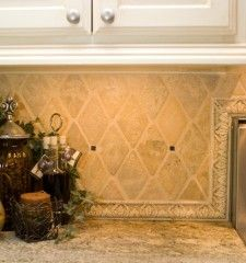 Tile backsplash Love travertine The Dream House Pinterest