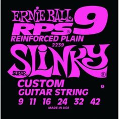 Ernie Ball 2239 RPS Super Slinky Electric String Set (9 - 42) by Ernie Ball. $5.39. A patented winding of bronze wire is tightly wrapped around the lock twist of the ball end. String slippage and breakage are minimized at the ball end where these most often occur. RPS strings last longer and stay in tune better than conventional plain strings.. Save 43% Off!