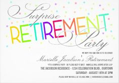 Shop Surprise Retirement Party Invitations created by Personalize it with photos & text or purchase as is! Retirement Celebration, Retirement Cards, Retirement Parties, Retirement Ideas, Invitation Design, Custom Invitations, Invitation Cards, Invitation Ideas, Big Party
