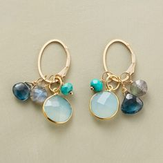 "IN THE BALANCE EARRINGS -- Blues and greens strike a delicate balance, the spectrum emerging from London blue topaz, turquoise, labradorite and rimmed chalcedony. Lever back hoops. Sundance exclusive handmade in USA of 14kt goldfill. 1-3/8""L."