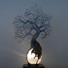 Full Moon Rising Tree Of Life Wind Spirit sculpture Selenite ...