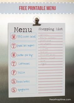 DIY Planner & co.: Menù settimanale e shopping list