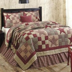 Star Patch provides simple country charm with six coordinating rustic red, tan, and black plaid or checked fabrics in a traditional star and nine-patch motif. Hand quilted, machine pieced. 100% Cotton, made exclusively for The BitLoom Co. by VHC Brands. See Star Patch here: https://www.thebitloom.com/products/star-patch-red-tan-khaki-black-ninepatch-quilt-sets